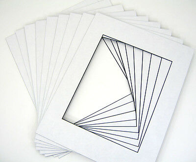 10 of 20x24 White Pre-cut Acid-free BLACKCORE mat for 16x20 + back