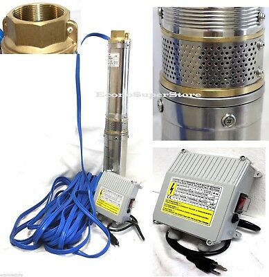 Stainless Submersible Deep Bore Well Water Pump 1.5HP 110V 17.5GPM w/100FT Wire