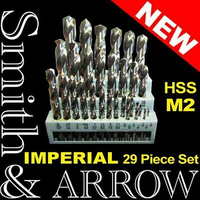 "29 Pc Hss Imperial Drill Bit Set M2 Metal Steel Twist High Speed Shank 1/16"" 1/2"