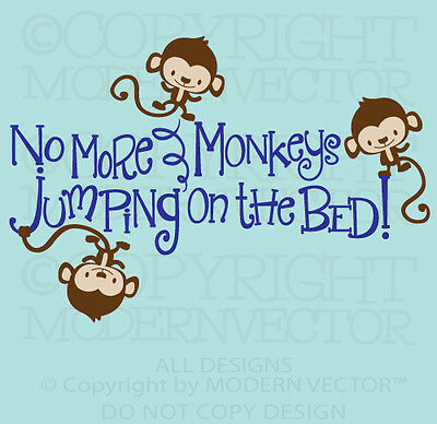 no more monkeys jumpin on the bed vinyl wall decal. Black Bedroom Furniture Sets. Home Design Ideas