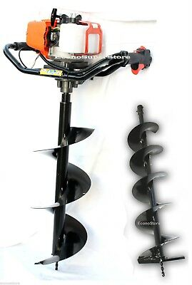 """One Man 52cc Gas Power Post Earth Hole Digger w/10"""" & 6"""" x 800mm Auger Bits"""