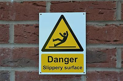 Danger Slippery Surface Plastic Sign Or Sticker 200mm x 150mm Silk Screened