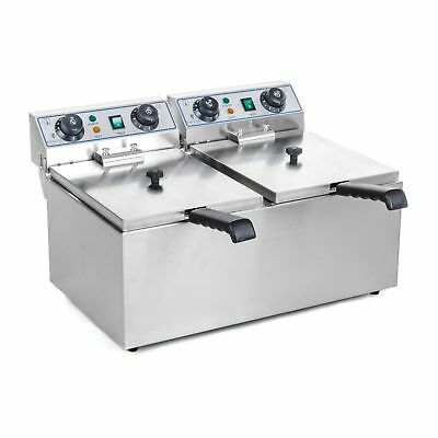 Fritteuse Edelstahl Gastronomie Doppel Fritteuse 2x 10 L Kaltzone 2x 3200W Timer