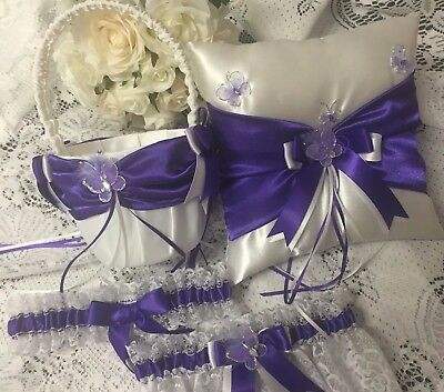 Flower Girl Basket Ring Bearer Pillow Garter Set Butterflies Purple And White