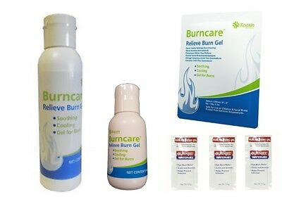 Burn Relief Gel Individual Sachets 59ml/118ml Bottle Scalds Sunburn Minor Burns
