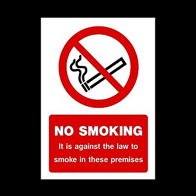 No Smoking Plastic Sign or Sticker - Against the law on these premises