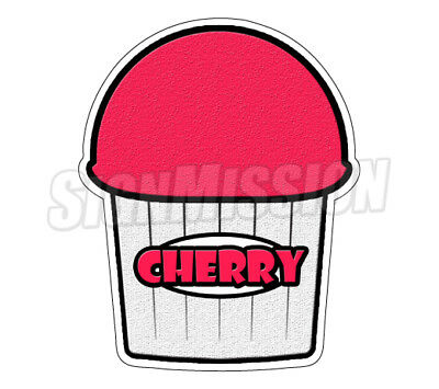 CHERRY FLAVOR Italian Ice Decal shaved ice cart trailer stand sticker