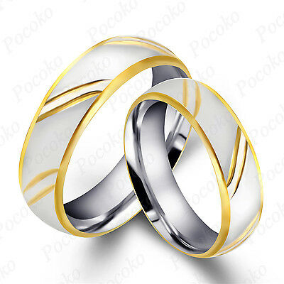 Men's Women's Silver Gold 4mm 6mm Stainless Steel Wedding Band Ring Size US 6-11