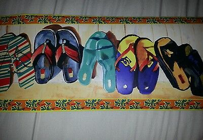 After Sundown Wall Border Wallpaper Flip Flops Great for Outhouse or Beach House
