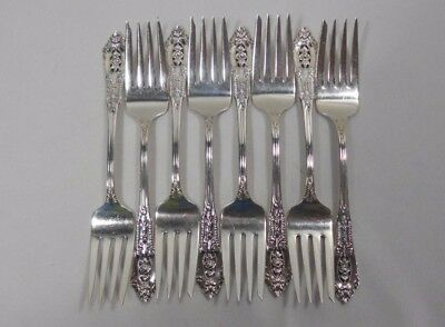 Wallace Silver Rose Point Sterling Set of 8 Salad Forks