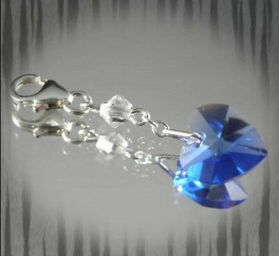 """Something Blue""  -  Swarovski Sapphire Blue Heart Charm"
