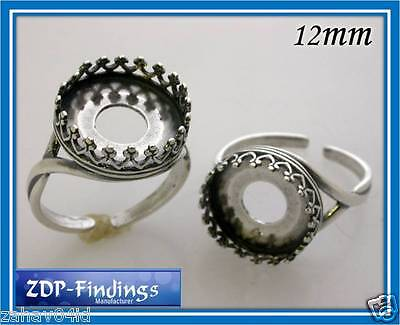 4pcs x Quality Cast 12mm Bezel Cups on Rings Antique Silver Plated (8480ASP)