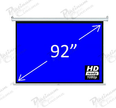 """Brand New 92"""" Electric Motorized HD Projection Screen Remote 4:3 Glass Bead"""