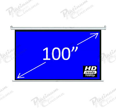 """New 100"""" Electric HD Projection Screen projector home cinema 16:9 Fiber Glass"""