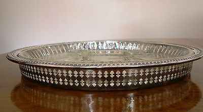 """Large Newport Silverplate Serving Tray with Glass Insert - 13""""D - Post 1940"""
