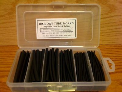 "160 Pcs Pro-Kit 4"" Black Polyolefin 2:1 Halogen-Free Heat Shrink Tubing 6 Sizes"