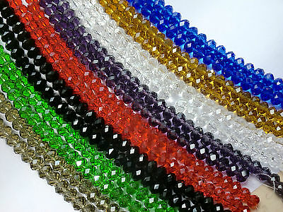 4 6 8 10mm Beautiful Faceted Rondelle Glass Crystal Beads In Strings 8 Colours