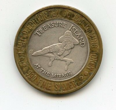 Treasure Island Silver $10 poker chip  limited edition Gambling token