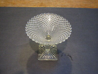 """Miss America crystal  5"""" H compote W square base-excond"""
