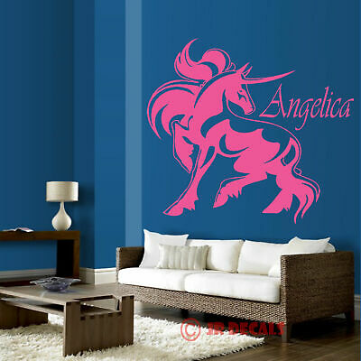 Unicorn Vinyl wall stickers nursery decal personalised girls name bedroom art