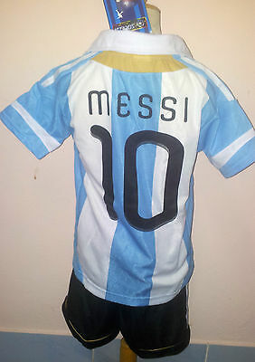 Kit Kid Soccer Children  Adult Football Messi Argentina   5 Size 6 To 16Years