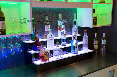 "36"" 3 Step Tier LED Lighted Shelves Illuminated Liquor Bottle Display FREE SHIP"