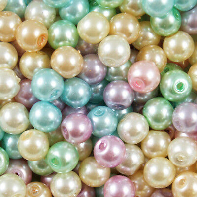 Mixed Pastel Colours GLASS PEARL Round BEADS - Choose 4mm, 6mm, 8mm, 10mm & 12mm