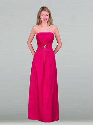 Hot pink / Fuchsia Pink Taffeta Evening Ball Gown Party Prom Bridesmaid Dress