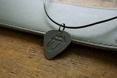 Hand Made Etched Copper Rolling Stones Guitar Pick Necklace
