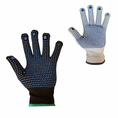 10 Pairs Of Nylon Polka Dot Work Gloves  Safety Grip Quality Picker Packer