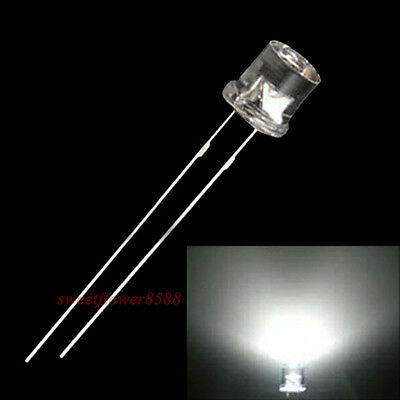 Water Clear FLAT Wide Angle Light Emitting Diodes 50pk 50pcs 5mm White LED