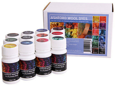 DYE SET of 12 COLOURS for Wool Silk Mohair Alpaca  - very easy to use