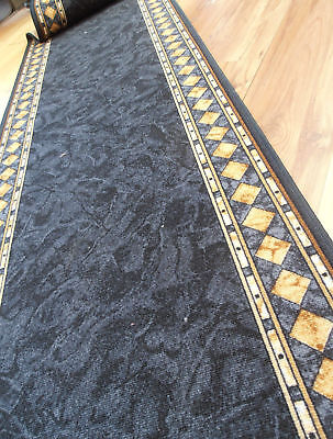Hall Rug HALLWAY RUNNER Mat Carpet CHEOPS Rubber Back 67cm Charcoal by the metre