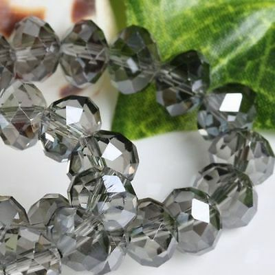 94-100 PCS , 4 X 6 mm Faceted Gray Grey Crystal Gemstone Abacus Loose Beads