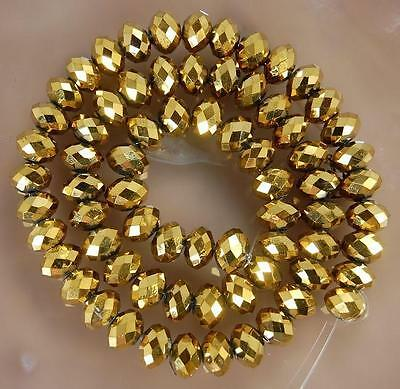 94-100 PCS , 4 X 6 mm Faceted Golden Crystal Gemstone Abacus Loose Beads