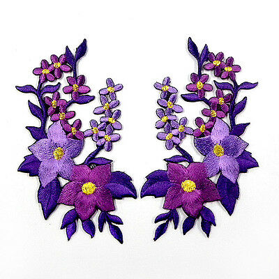 I0609 x1Pair(2pcs) Orchid Flower Floral Boho Iron On Patch Embroidered Appliques