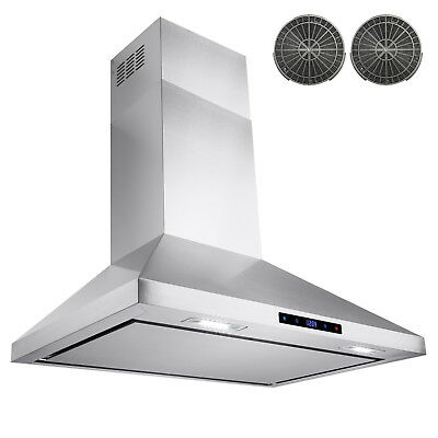 """30"""" Stainless Steel Wall Mount Range Hood Touch Screen W/ Carbon Filter"""