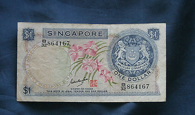 Singapore 1970  Bank Note 1 Dollar Paper Money Orchids Lions Head watermark