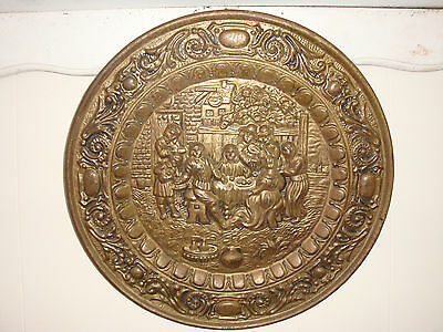 Antique Brass Wall Hanging.17Inch.english Feast.made In England