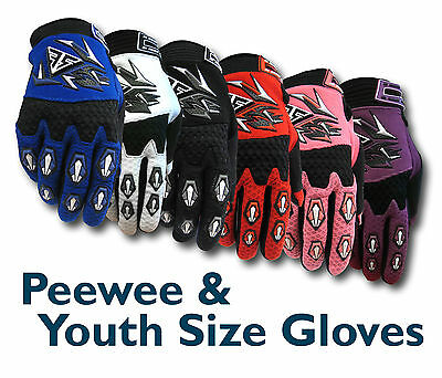 MX Motocross Youth/Peewee Gloves (Age 4 to 12) BMX/ATV/Dirt/Quad Bike/Junior/Kid
