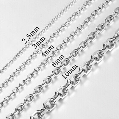 "18""-36"" Silver Tone Stainless Steel Mens Rolo Link Necklace Chain 2.5-10mm Wide"
