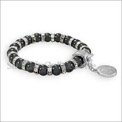 Magnetic Hematite Silver Tone with White Crystals Charm Bracelet / Bangle