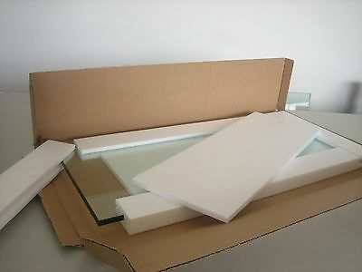 "8"" x 24"" Rectangle 3/8"" Clear Tempered Glass Shelf"