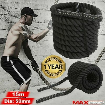 Battle Power Rope Battling Sport Exercise Fitness Bootcamp Training Gym 50mm 15m