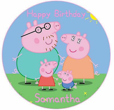 1 x Peppa Pig 19cm round personalised cake edible image