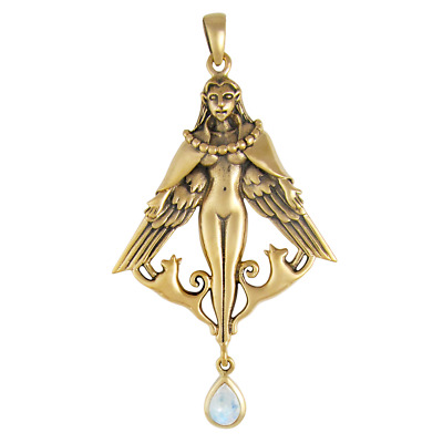 Bronze Freya Pendant with Moonstone by Dryad Design Asatru Norse Goddess Wiccan
