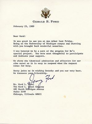 Gerald Ford Autographed Letter February 23, 1989