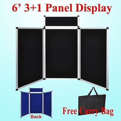 6' 3+1 Black Panel Header Trade Show Display Presentation Tabletop 6Ft Loop