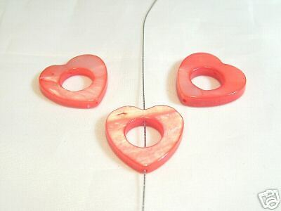 10 x 18mm Natural Dyed Shell Heart Donut Beads : 08