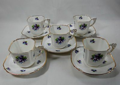 Royal Stafford Sweet Violets Set of 5 Square Cups and Saucers